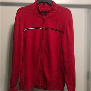 Vintage Tommy Hilfiger Holiday Red Zip Up Sweater